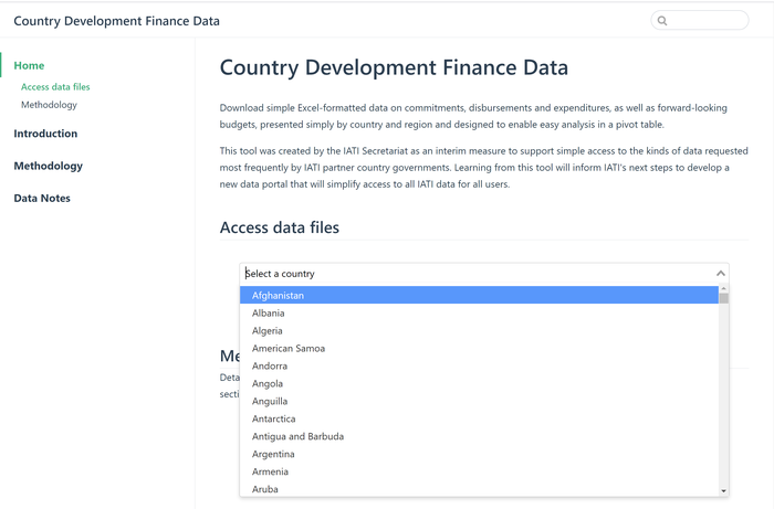Country Development Finance Data tool.png